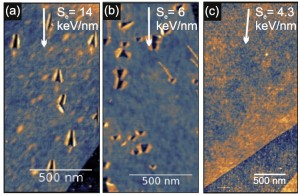 Monolayer graphene after exposure to grazing incidence swift heavy ion irradiation (a) 84 MeV Ta, (b) 23 MeV I, (c) 15 MeV Si